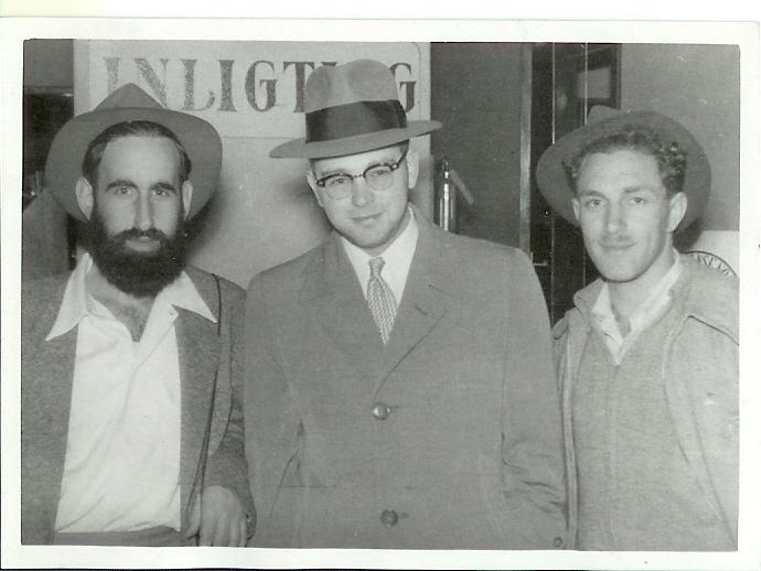 Meier Tamari & Yossie Markowitz reiving Rabbi Sanders on his arrival SA