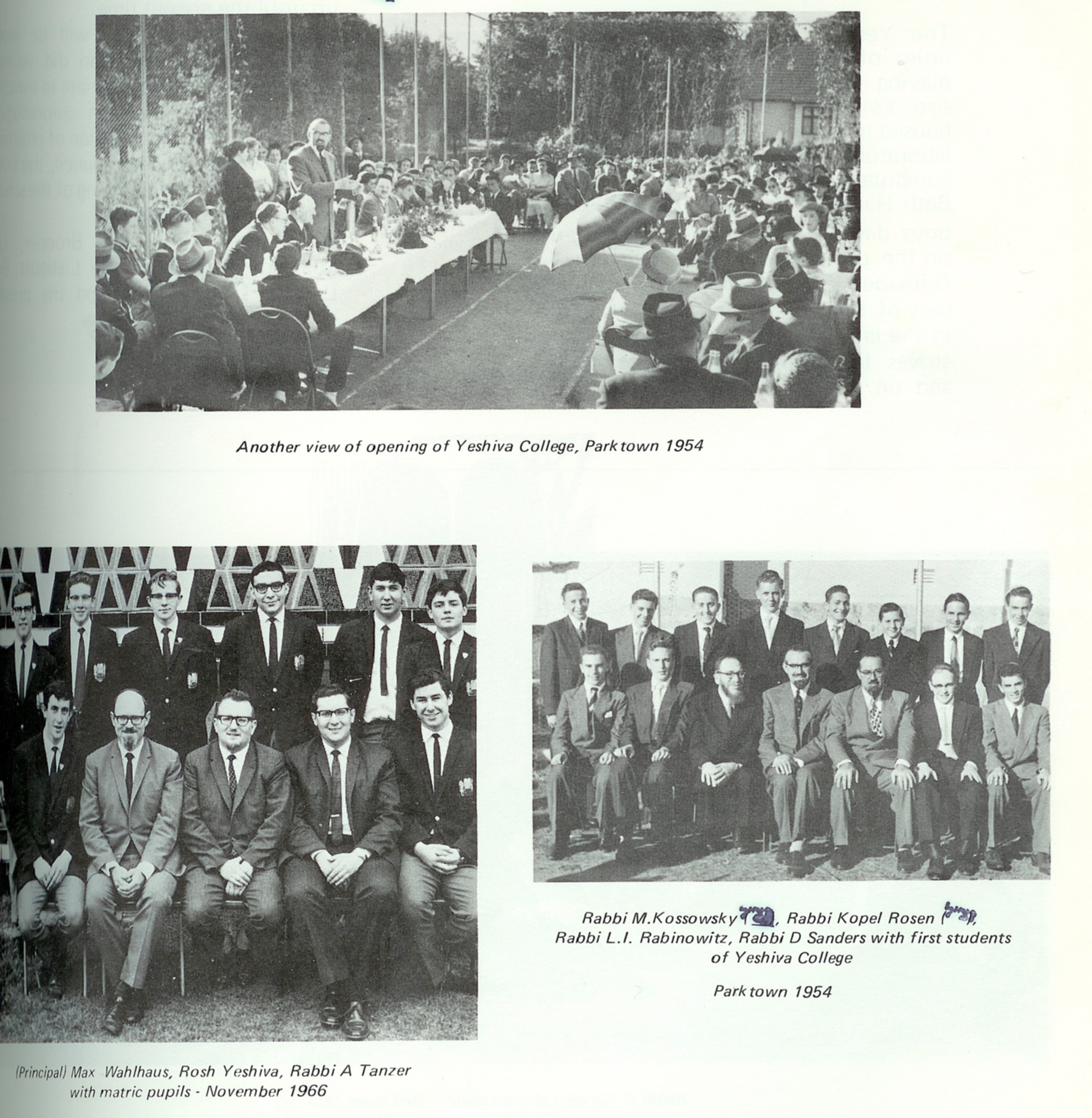 Opening Ceremony - Yeshiva College, Rabbis &Students