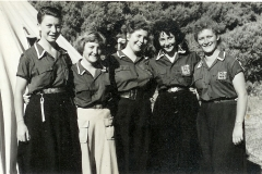 1954-'55 madrichot Glencairn L-R 2nd leika Friedman, Zeeva Gordon, Barbara Peltor & Minnie Karp