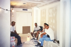 Workers taking a break in preparing the new offices at 19 Schwartz St Raanana