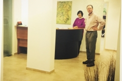 Sharon Bernstein and David Kaplan in the new lobby of the Telfed offices
